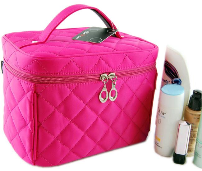 2015 hot Good Zipper Cosmetic Storage Make up Bag 4colors Handle Train Case Purse(China (Mainland))