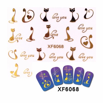 New Styles 3D Nail Stickers Beauty  Hot Gold Cartoon Design Nail Art Charms Manicure Bronzing Decals Decorations Tools  6068