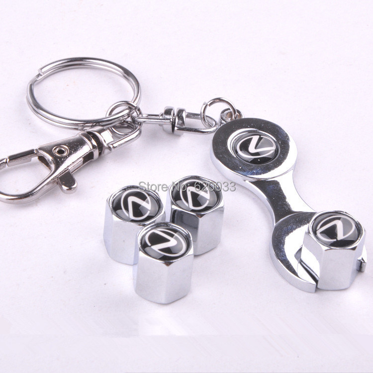 Super Quality Car Wheel Tire Valve Caps Wrench Keychain For Lexus Car Keychain Promotional Trinket Key Chain Ring(4-Piece/Pack)(China (Mainland))