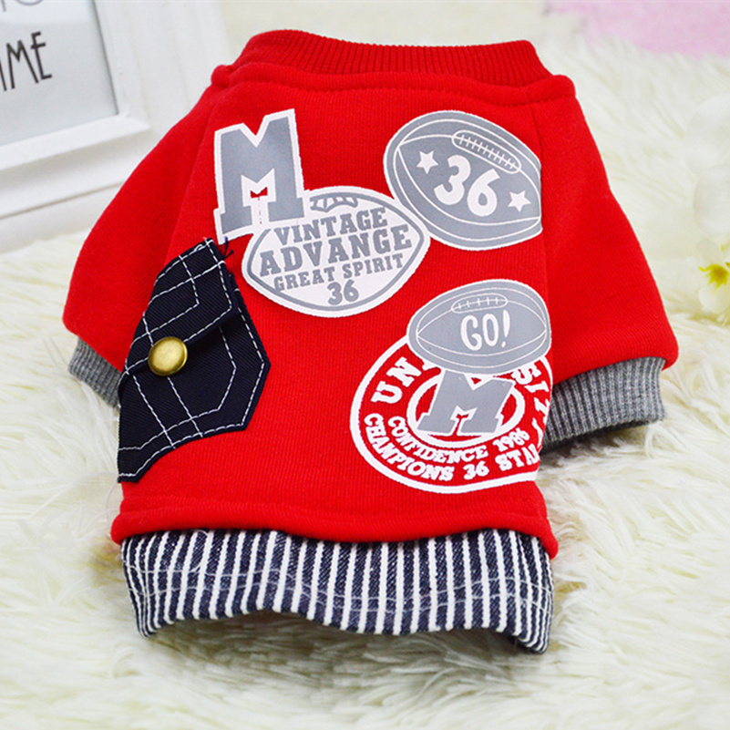 2016 New Cotton Dog Sweater Shirt Pet Clothes Fashion Baseball Uniform Jersey Coat Clothing for Small Dogs Apparel XS-XXL 2(China (Mainland))
