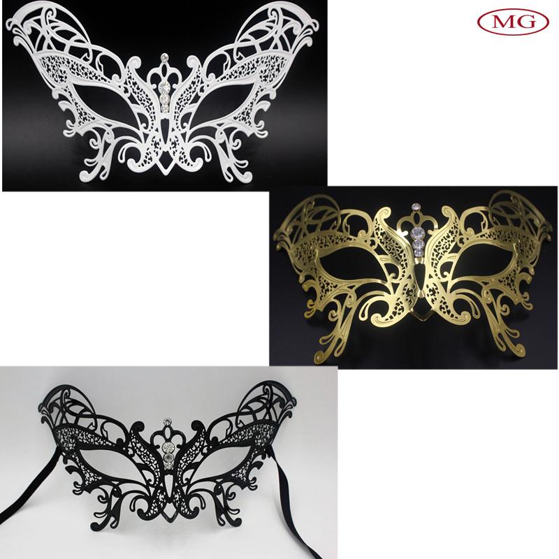 Half Face Gold Filigree Metal Silver Laser Cut Rhinestone Black Venetian Carnival Masquerade Mardi Gras Mask(China (Mainland))