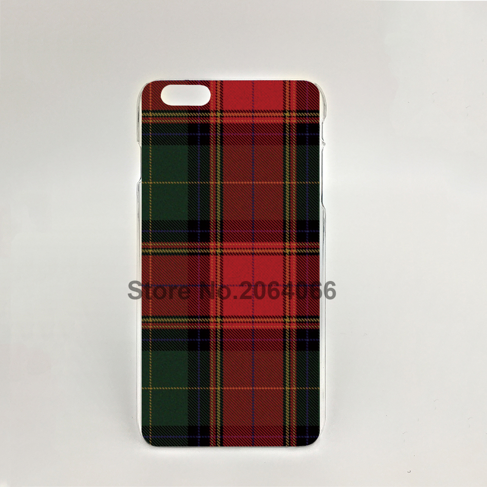 07287 RED BLUE font b TARTAN b font SCARF FASHION Hard transparent Cover Skin Back Case