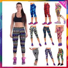 2016 New Brand Capri Sports Leggings High Waist Floral Printing Pants Lady's Fitness Workout Casual Pants Gym Wear (22 Colors)(China (Mainland))