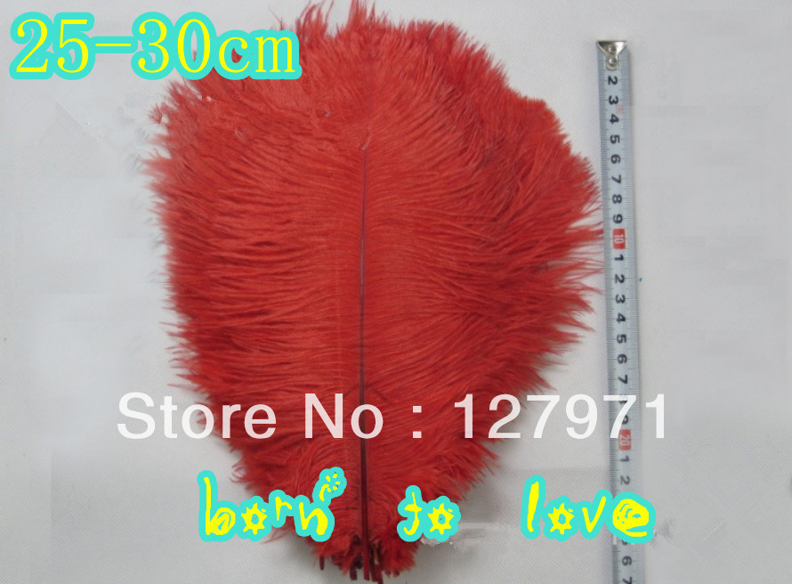 - 10 10-12 inch (25-30cm) red Ostrich Feather Plume Wedding Centerpiece Decoration tang xiao's store