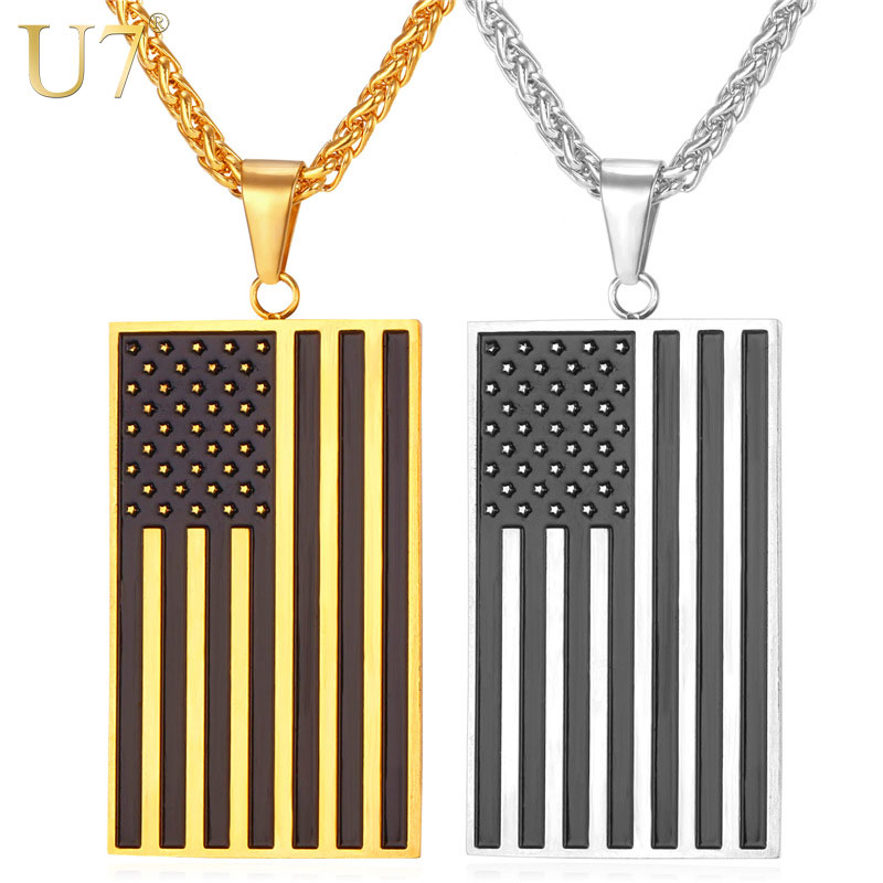US Flag Necklaces & Pendants Gold Plated Stainless Steel USA American Chain For Men/Women Gift U7 Brand Hot Fashion Jewelry P721(China (Mainland))
