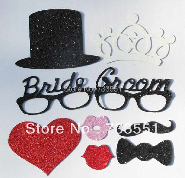 Promotion,9pcs EVA material DIY Photo Booth Props Bride groom Lip Hat crown moldings On A Stick Wedding Birthday party fun favor(China (Mainland))