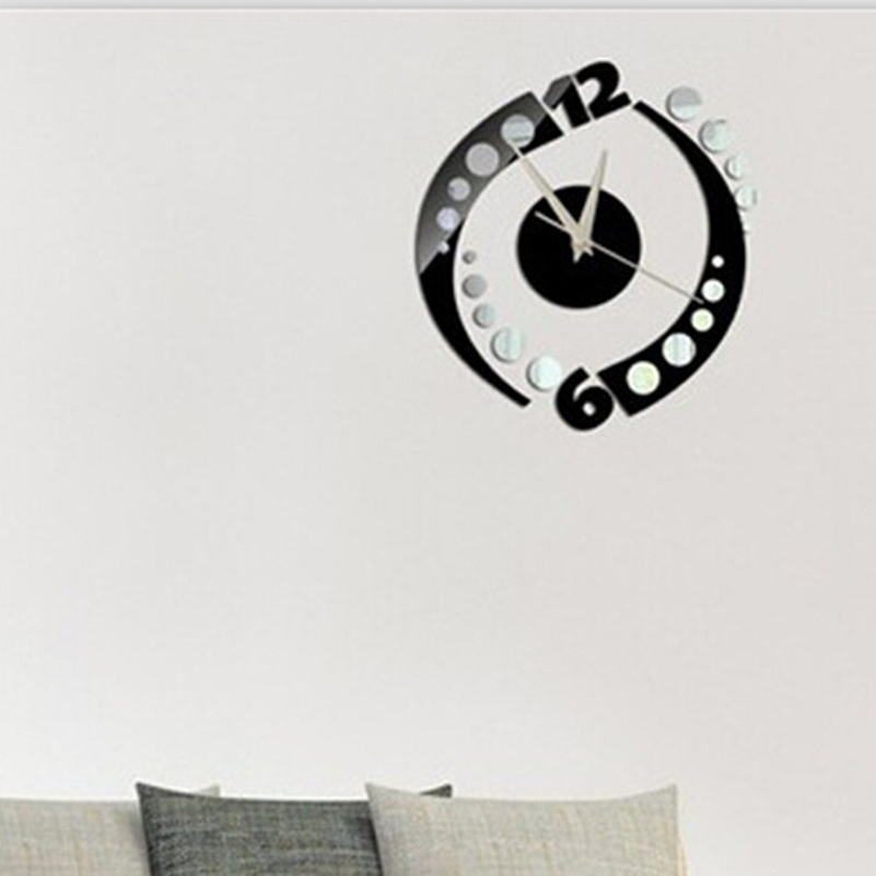 Modern Art Decor Wall Clock Sticker : Modern design diy wall clock home decor mirror sticker art