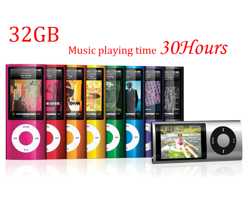 Music playing time 30Hours Slim 1.8' 4th gen 32GB Multicolor mp3 player music player fm radio ebook video player(China (Mainland))