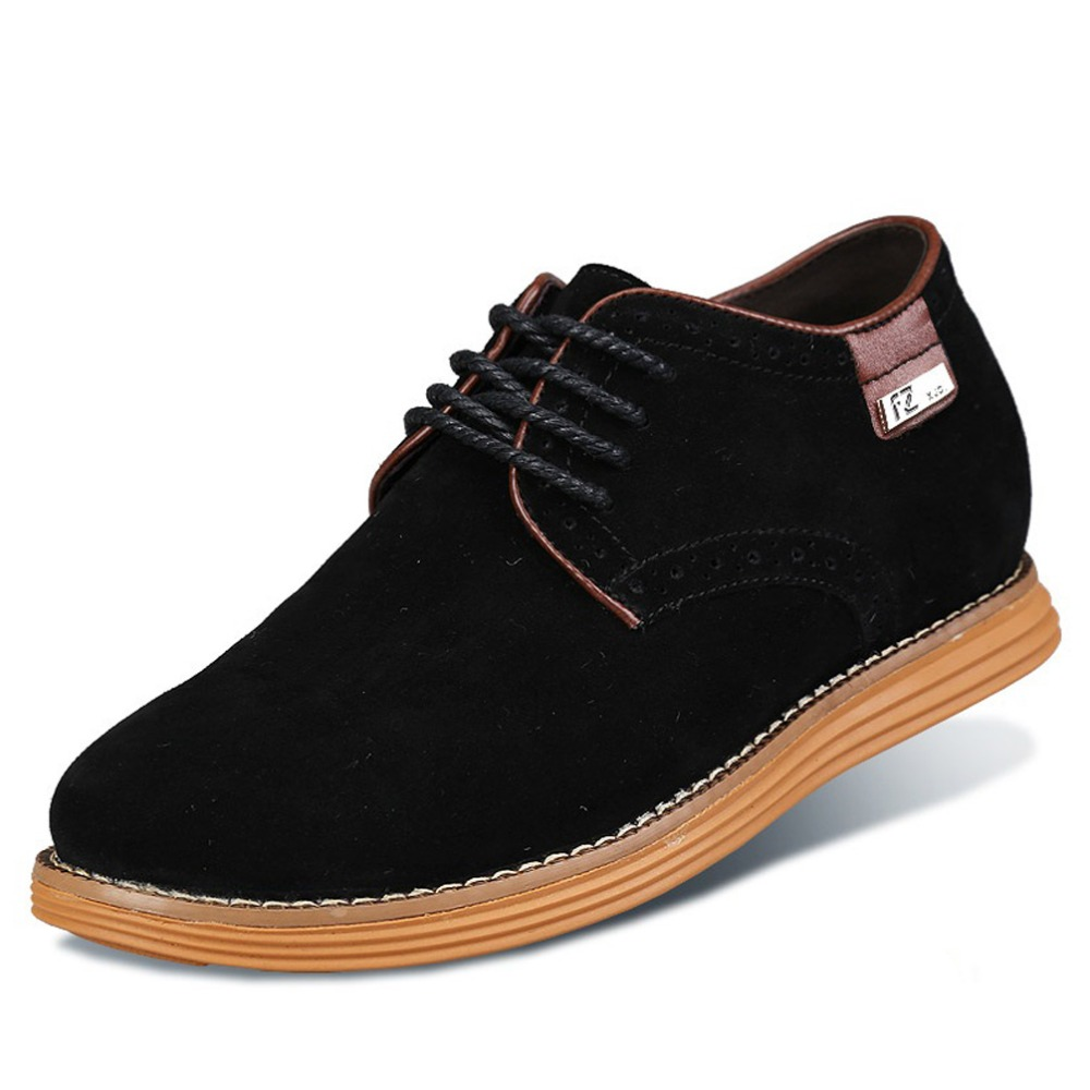 X8353 Mens Height Increasing Elevator Suede Leather Casual Shoes with Hidden Heels Get Taller 6CM Invisibly Black/Brown/Blue<br><br>Aliexpress