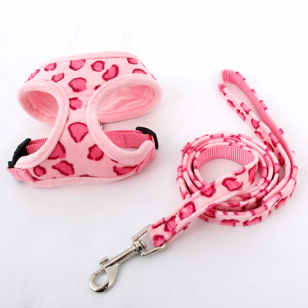 Freeshipping Pet Harness Dog Cat Leopard Pink Beige Adjustable Cute Collar Safety Control Size S/M Puppy Dog Cat Harness Set(China (Mainland))