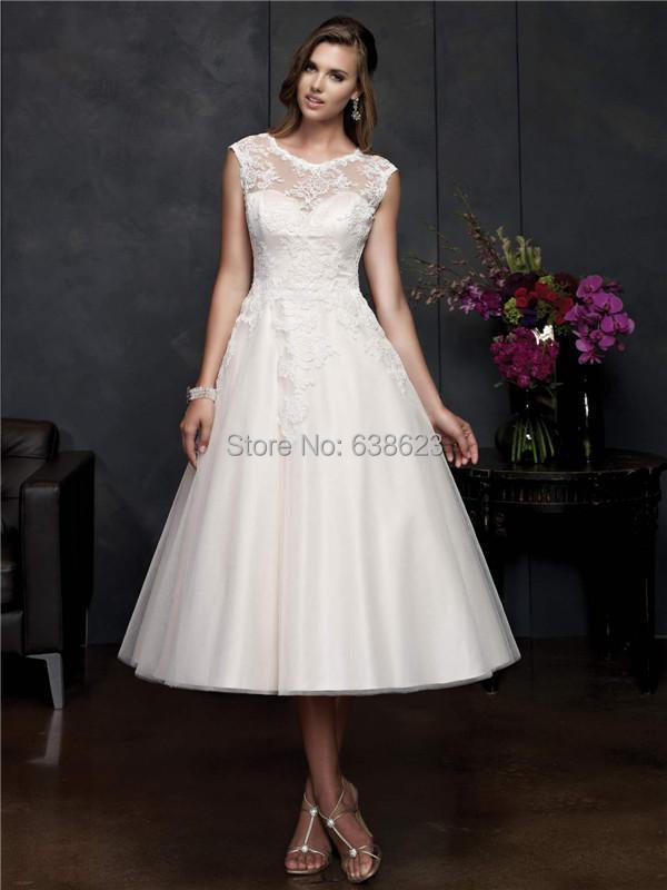 DAW1869 Custom Tea Length Cap Sleeve New Lace Wedding Dress Bridal Gowns With Buttons(China (Mainland))