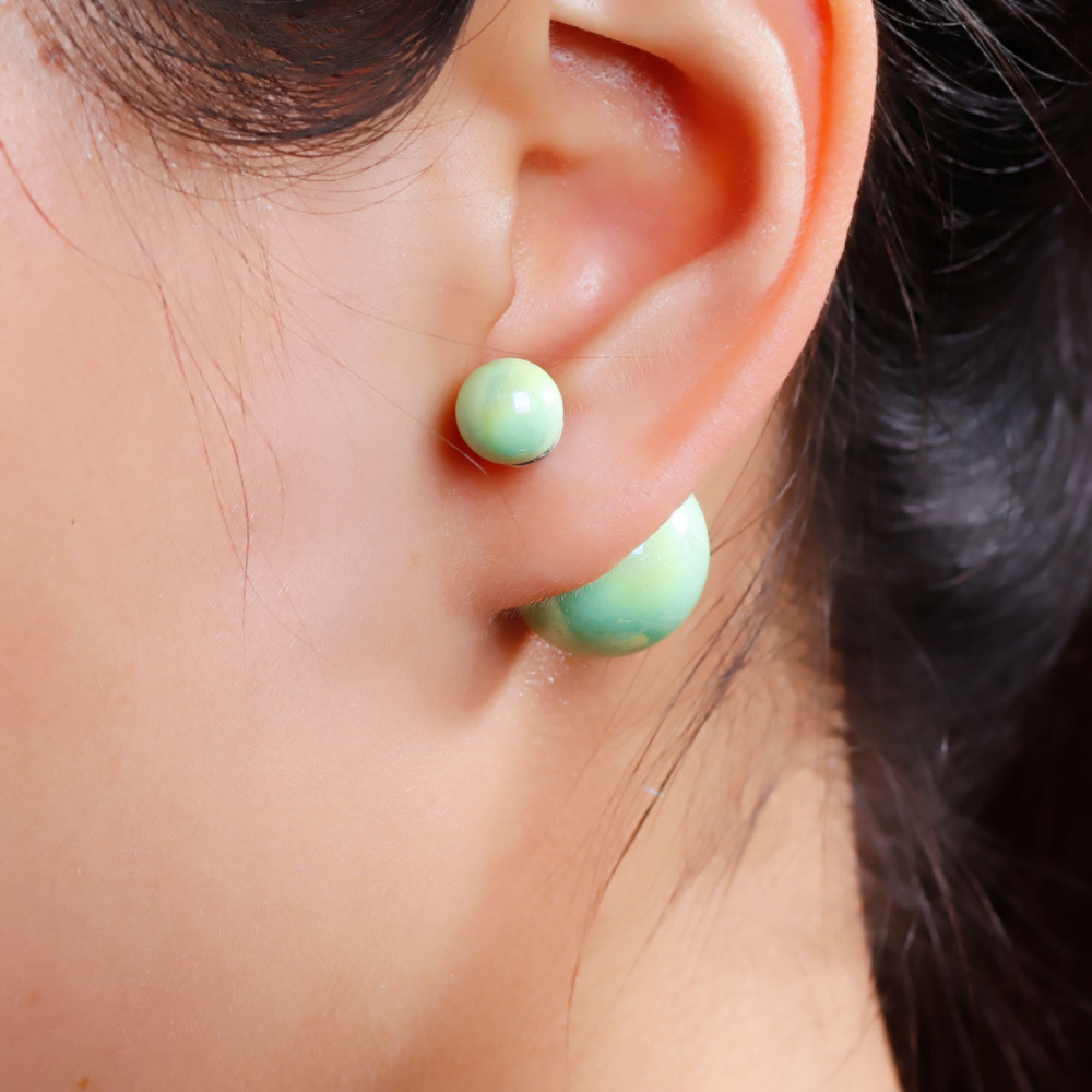 "8SEASONS New Fashion Lady Ear Studs Acrylic Earrings post Round Mint Green AB Color imitation pearls 24x16mm(1""x5/8""),1 Pair(China (Mainland))"