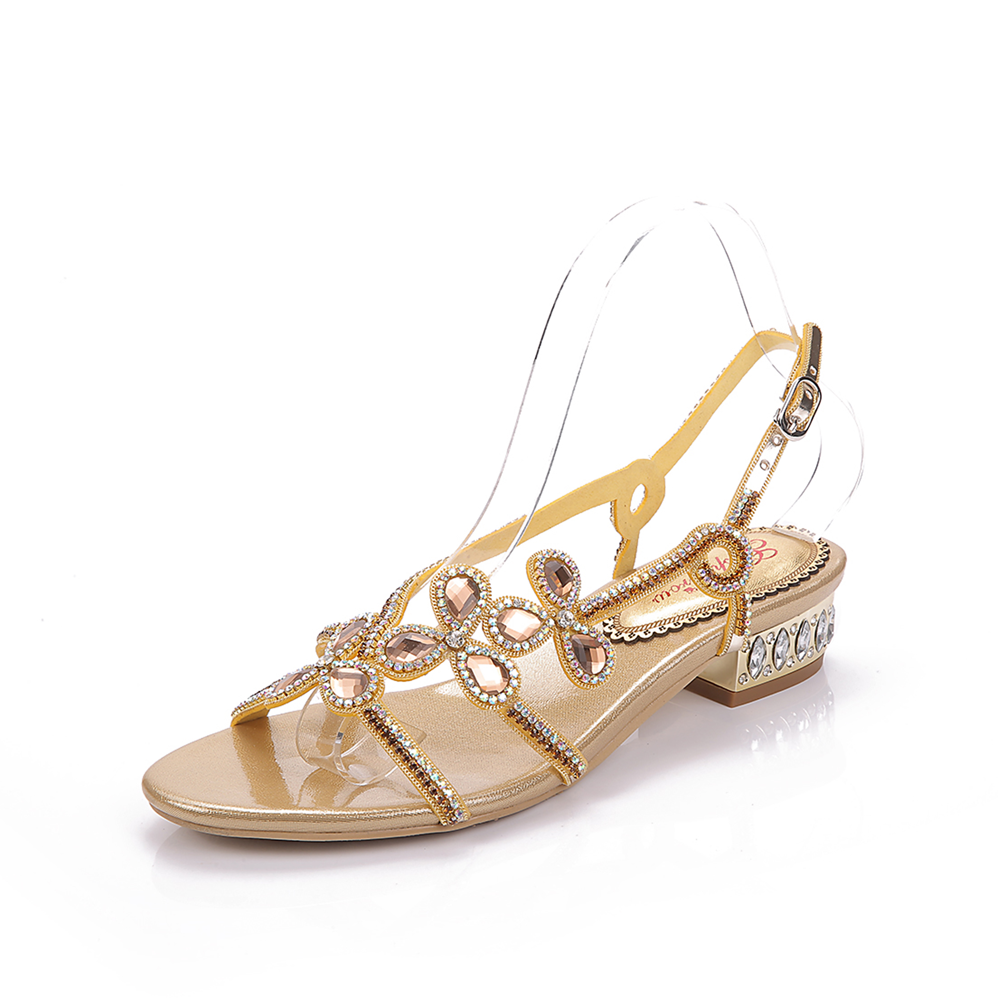Gold Strappy Sandals Low Heel