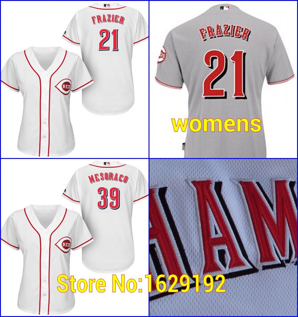New Arrival Cincinnati Reds Womens Authentic 21 Todd Frazier 39 Devin Mesoraco Gray White Baseball Jerseys/Shirts Stitched Cheap(China (Mainland))