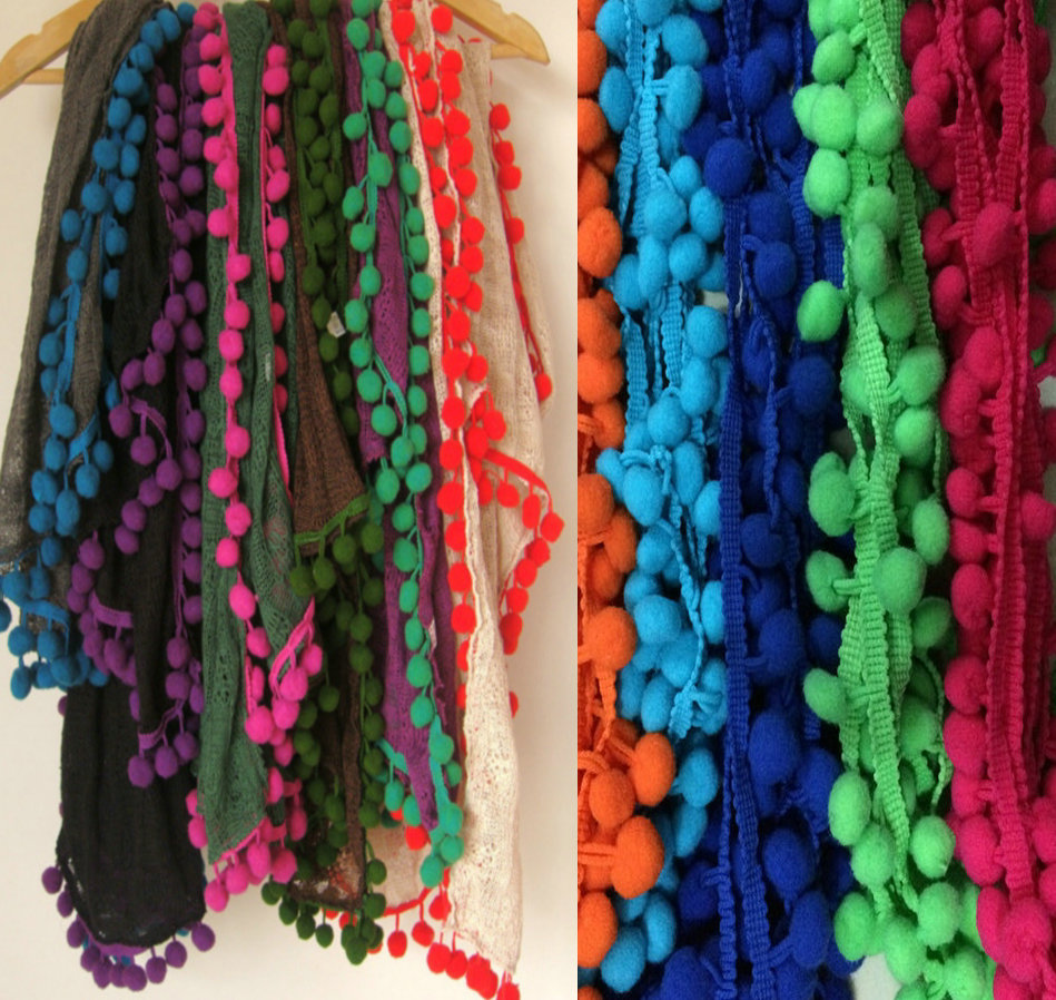 wholesale pompom lace trims,1cm pom pom ball lace,20yard/lot pom pom trimming,DIY sewing African Lace Guipure Fringe Tassel Trim(China (Mainland))