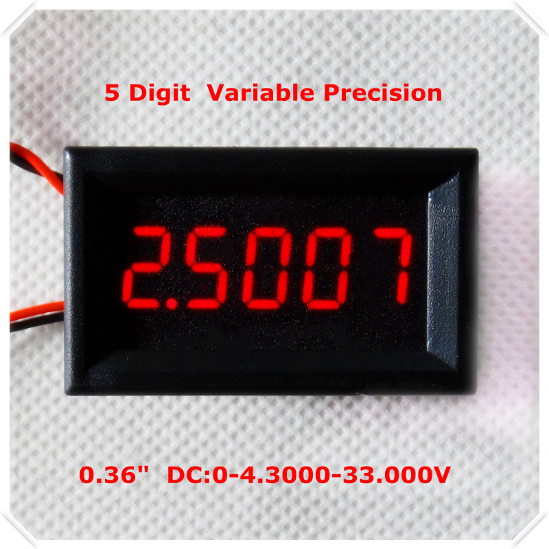 """RD 4 Wires 0.36"""" Variable Precision DC 0-33 V Digital Voltmeter voltage panel meter led display Color: Red [ 4 pieces / lot](China (Mainland))"""