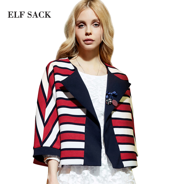 Elf SACK весна женский свободный цвет блока полосой печати короткая куртка женская Бесплатная Доставка