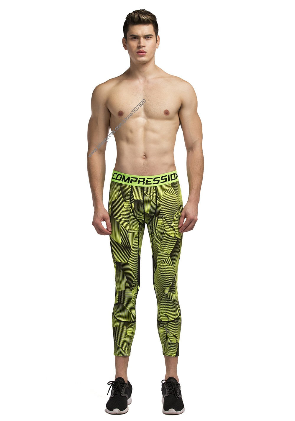 Vansydical Geometric Skinny Sport Yogo Fight Shorts for Men (4)