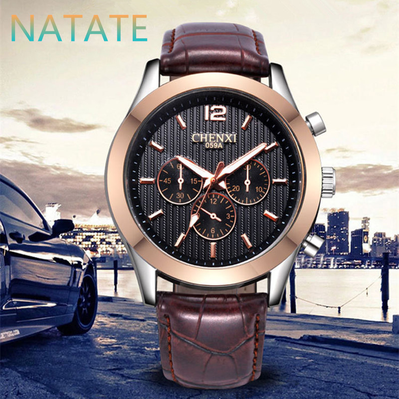 NATATE Men Business Casual Watches Men Luxury Brand CHENXI three circles decoration Fashion Sports Waterproof Leather Watch 1140(China (Mainland))