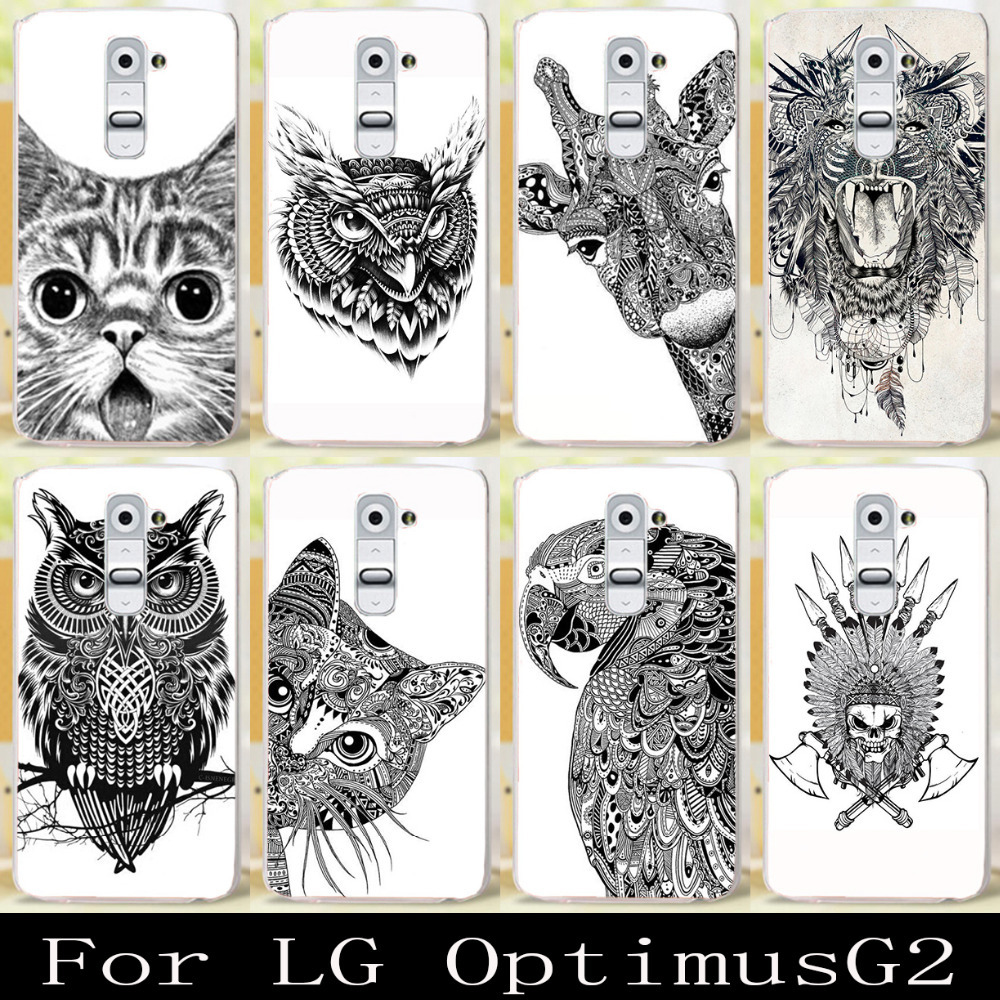 """Cute Cool Black And White Style Animal Series cell phone case for LG Optimus G2 D802 D801 F320 5.2"""" cover protector skin hood(China (Mainland))"""
