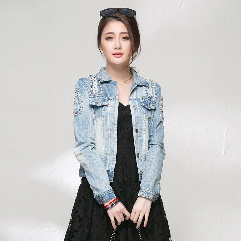 Top selling 2015 original pearl Denim Jacket Women elegant ripped Jean Jackets do the old lulu Jecket must have(China (Mainland))