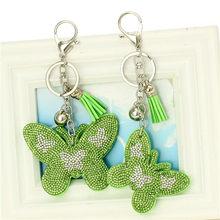 Мода из искусственной кожи брелок в форме бабочки брелок для ключей с кисточкой Автомобильная сумка Серебристый Брелок для ключей для женщ...(China)