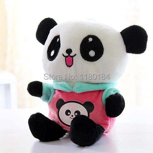 Doll fashion panda plush toy cloth doll gift 20cm pink or light blue free shipping(China (Mainland))