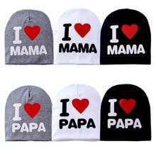 2016 Spring Fashion Baby Hat Knitted Warm Cotton Toddler Beanie Baby Cap Kids Girl Boy I Love Papa Mama Print Kid Hats CBLH076(China (Mainland))