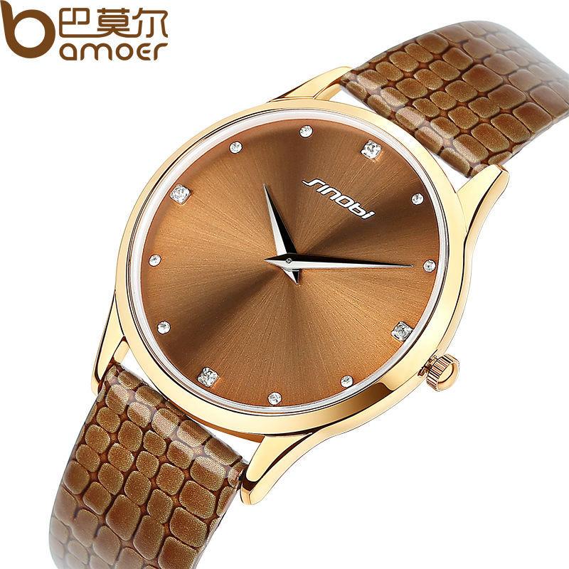 2015 Aliexpress Top Sell SINOBI Brand Leather Strap Watch for Women and Men Fashion Quartz Military Waterproof Wristwatch WA1003(China (Mainland))
