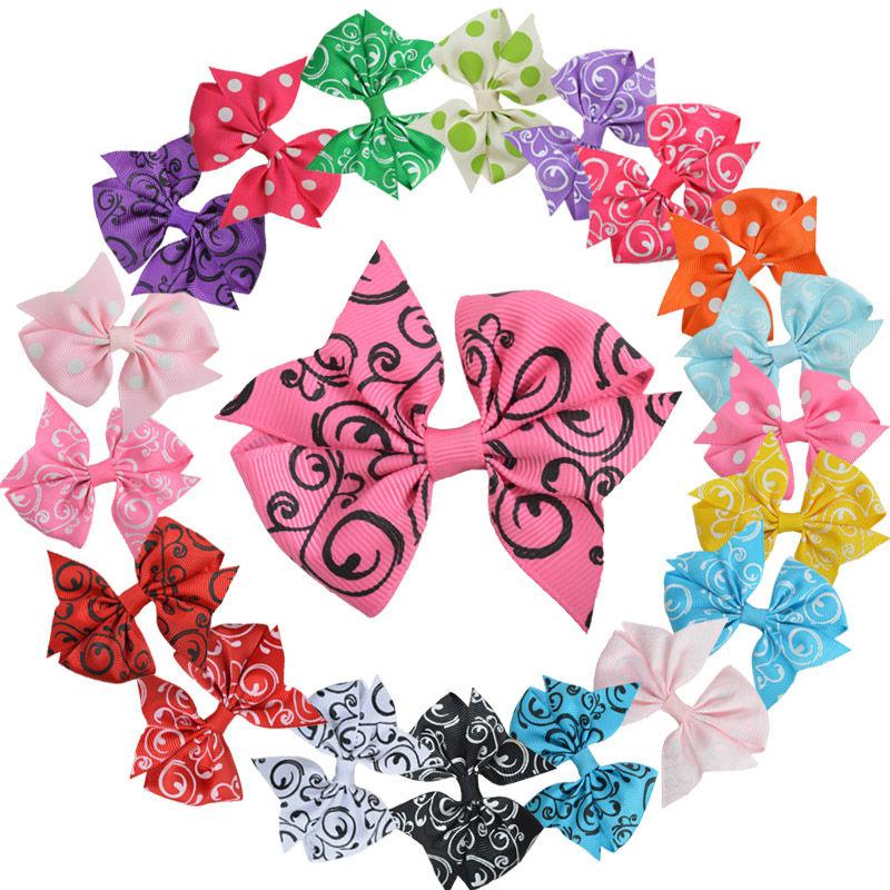 Wholesale Boutique Hair Bows For Women Girls Cheap 20 Color 3 Inch Ribbon Hair Pins Korean Hair Accessories 20PCS XC-1877(China (Mainland))