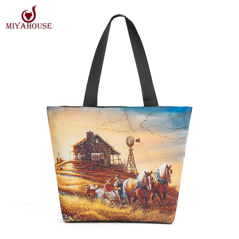 Miyahouse Woman Canvas Shoulder Bags Casual Female Beach Bags Landscape Printed Shopping Bag Ladies Canvas Tote Bolsas Feminina(China (Mainland))