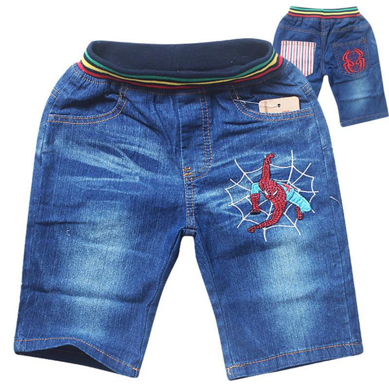 5Pcs/Set Fashion Cartoon Superhero Spiderman kids Short Jeans Children Boys Summer Children Soft Denim Pants<br><br>Aliexpress