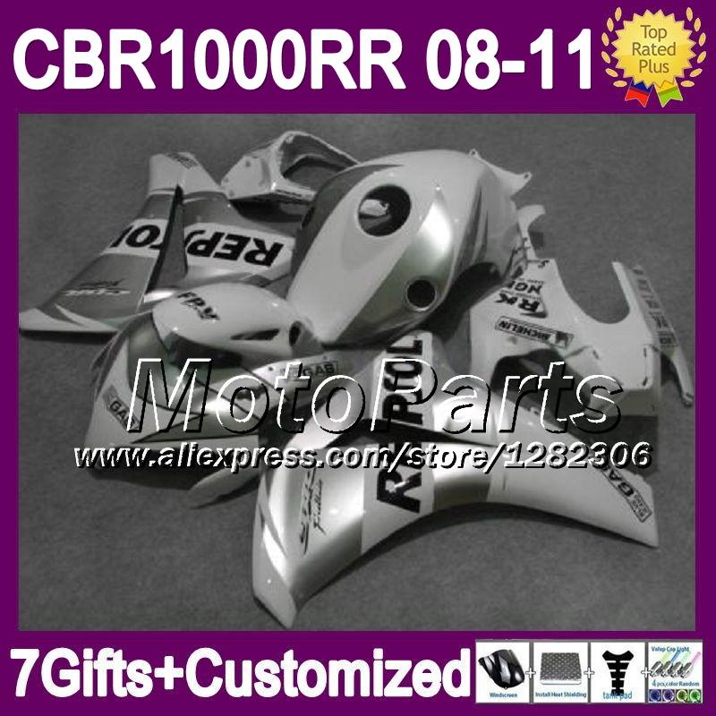 7giftsFor HONDA 08 09 10 11 CBR1000RR CBR 1000 Silvery white 1000RR *81 NEW 2008 2009 2010 Repsol White 2011 CBR1000 RR Fairing(China (Mainland))