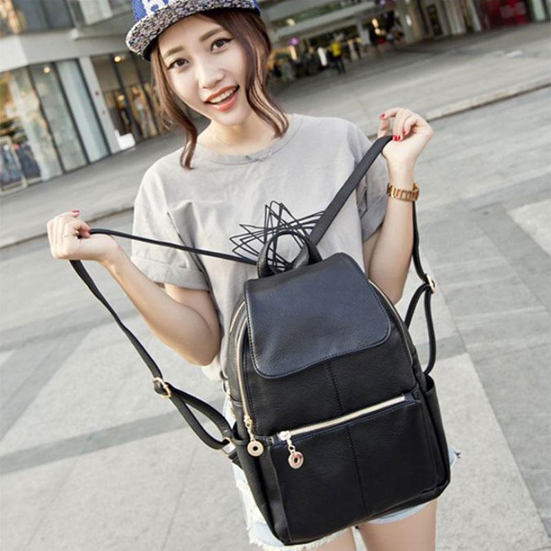 2015 Brand designer women Simple Style backpack fashion PU leather Black school bag for girls large capacity shoulder travel bag