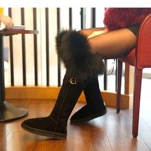 Invierno de Las Mujeres Botas Largas de Piel de Zorro Hasta La Rodilla altas Botas Flats Over-the-Knee Botas Engrosamiento botas de Nieve Caliente botas Zapatos de Mujer Botas C269(China (Mainland))