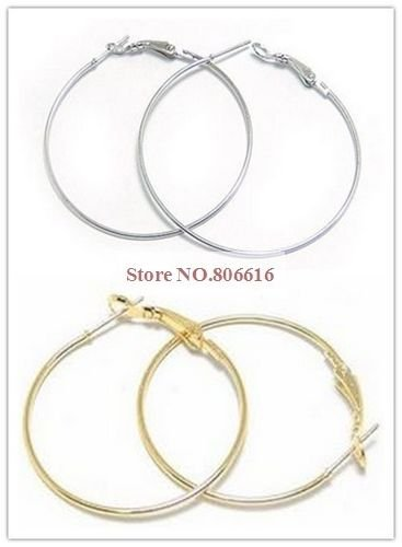 50MM 100PCS Gold/Nickel Plate Hoop Earring Hoops Clasps Hooks Jewelry Accessories(China (Mainland))