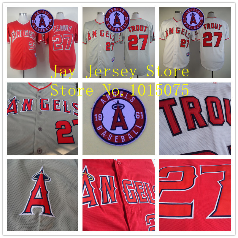 2015 Mike Trout Jersey White Grey Red Cool Base Los Angeles Angels Jerseys Stitched(China (Mainland))
