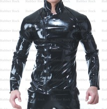 100% Latex Shirt with Zipped Black 0.4MM Rubber Top Garment for Men(China (Mainland))
