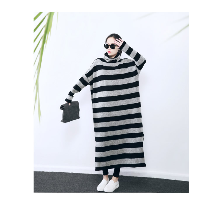 [XITAO] 2016 Korea fashion women Long striped loose pullover sweater casual female turtleneck batwing sleeve long sweater BD005