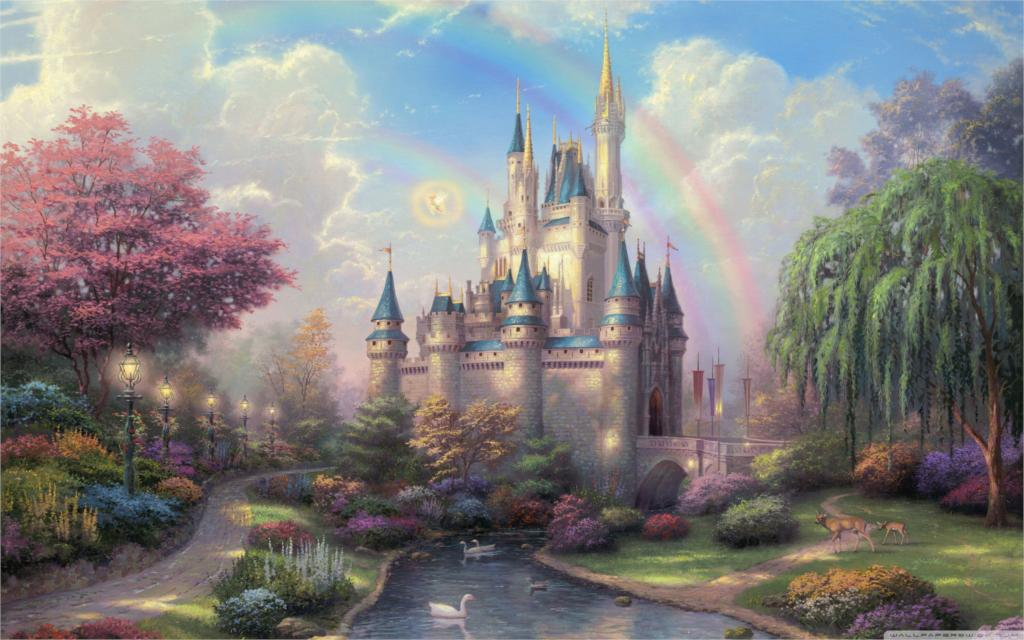 Beautiful classic cinderellas castle by thomas kinkade 4 Sizes Silk Fabric Canvas Poster Print(China (Mainland))