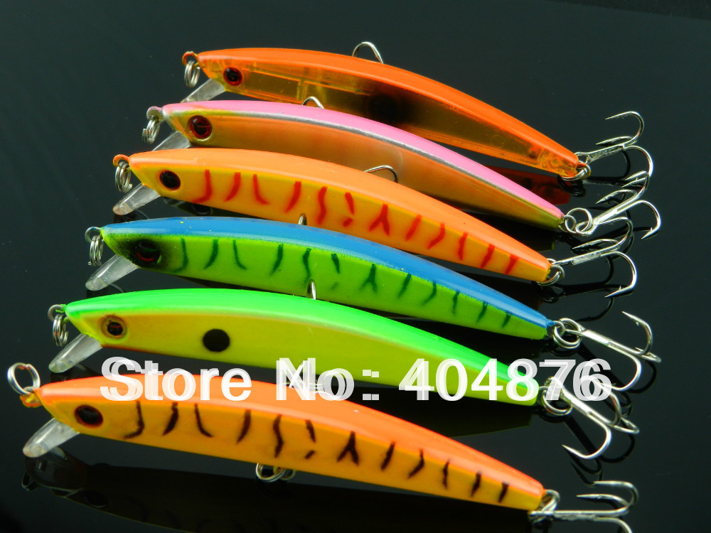 new 95mm minnow Fishing Lure Floating trout Minnow 6 color 9.5CM 7.2G 6# hooks 100pcs (MI001) japan hooks free shipping<br><br>Aliexpress