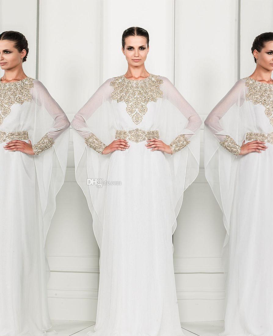 Arabic dubai abaya kaftan white 2015 zuhair murad muslim for White kaftan wedding dress