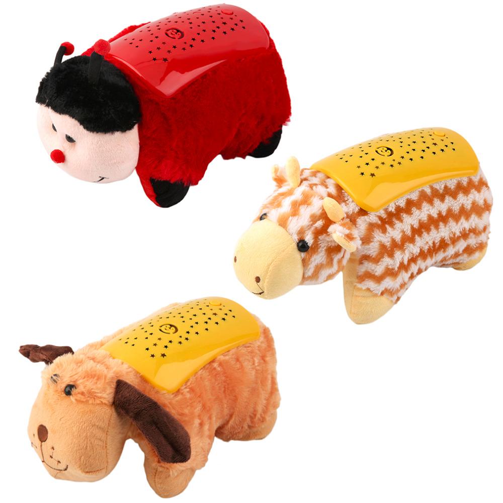 Novel New CReative Animal Star Sky Projector Children Toy Cute Pet Night Light Pillow Cushion Bedtime Worldwide Store(China (Mainland))