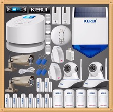 Original KERUI GSM PSTN Wifi Systems Security Home smart alarm system+1080P WI-FI External ip camera+RFID keypad+strobe siren
