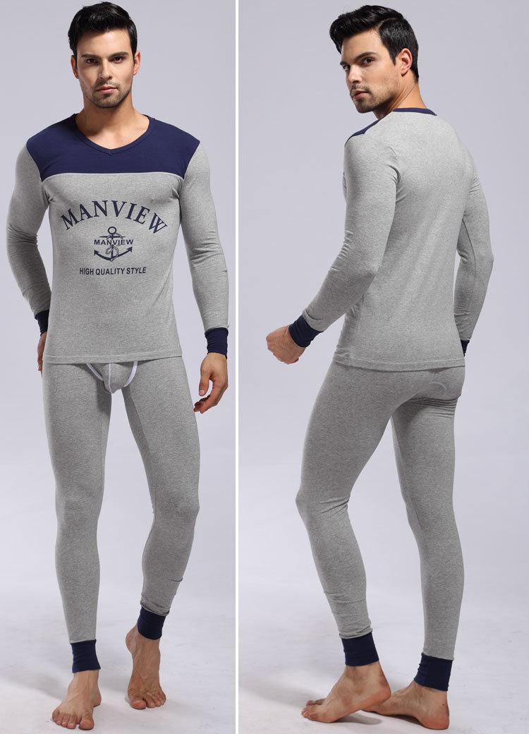 1 set mens Pajamas underwear sleepwear cotton/modal pants robe Lounge Manview brand 2016 new keep warm long sleeve home suits