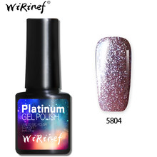 WiRinef 8 ml 3D Brilho Platina Semi-Permanente de Gel Unha Polonês Soak Off Prego Uv Led Colorido Super Brilhante laca Gel(China)