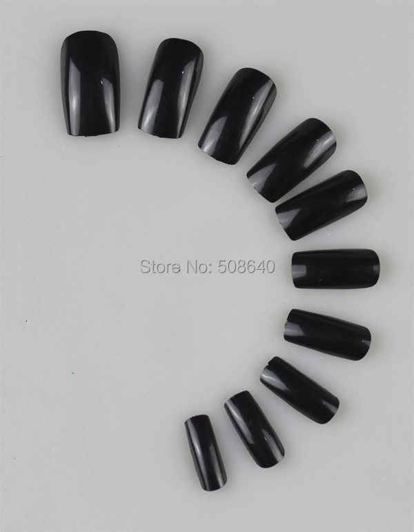 Fake Nails Full Cover Black Faux Ongles Unhas Postica Tips Acrylic Unha Nail Art Tools Artificiais False Unghie Finte Gel Tip - For Pretty Factory Store store
