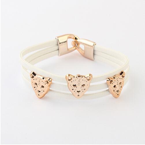 New Brand Fashion 100% hand-woven rope Resin Chain Bracelet jewelry Leopard head Punk Bracelets Wholesale for women 2015 #B073