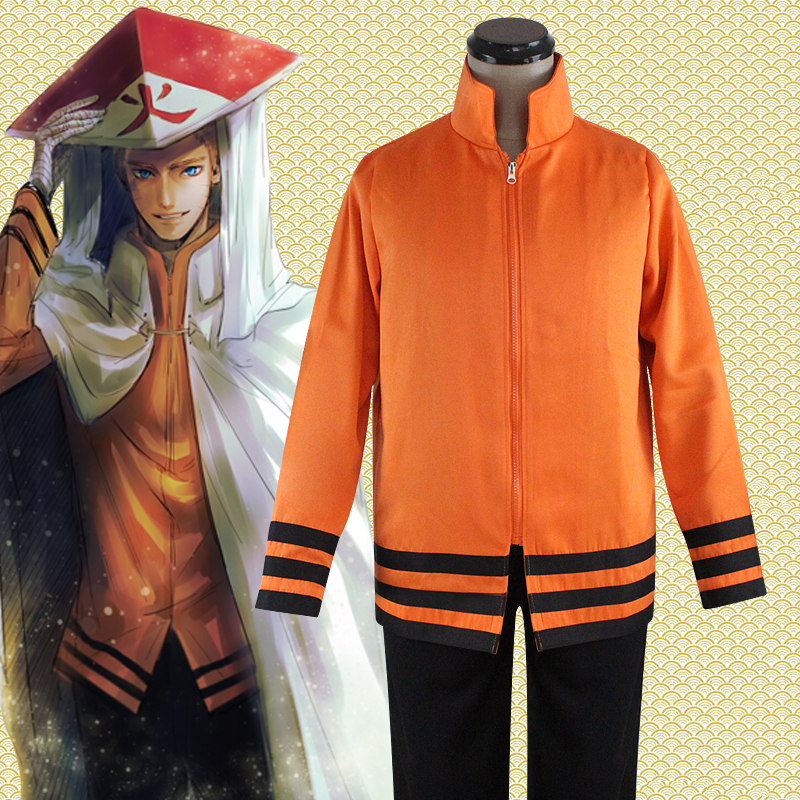 Anime Naruto Cosplay Costumes Seventh Hokage Uzumaki Naruto Cosplay Top/Coat/Jacket+Pants New Free Shipping(China (Mainland))