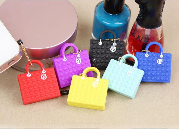 handbag Design Lovely Silicone Bag Dust Plug Mobile Phone Ear Cap Dust Plug For Iphone For Samsung 3.5mm Dust Plug(China (Mainland))